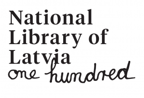 The logo of the National Library of Latvia's One Hundred Years Anniversary in English