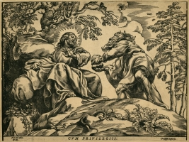 """Christoffel Jegher (Netherlands). """"Temptation of Christ in the Desert"""" (by Peter Paul Rubens original). 1633. Xylography. NLL Printing Collection"""