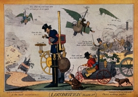 Various types of steam-driven vehicles and flying machines, 1829, Wellcome Library